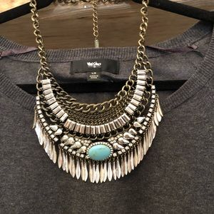 BaubleBar Statement Bib Necklace w/ Turquoise